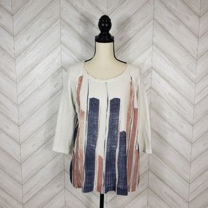 Anthropologie Tops - ONE SEPTEMBER Geometric Pleated Mixed Media Blouse